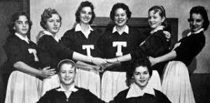 Old High School Yearbook cheerleading team
