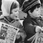 kids reading sunday funnies