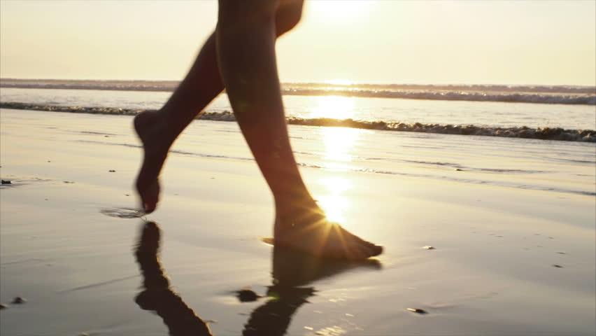 strolling walking on beach