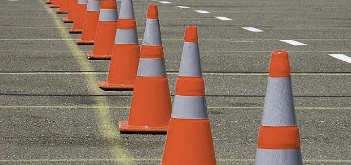 orange construction cones