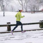 Jogging in cold snow
