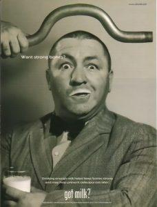 Three Stooges milk ad Curly