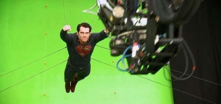 Man of Steel Cavill behind the scenes