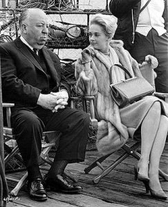 Alfred Hitchcock Tippi Hedren on set of Birds