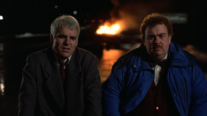 Planes Trains Automobiles 1987 classic road comedy Car Fire