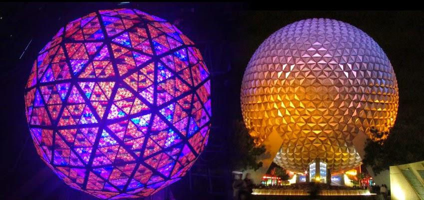 Times Square Ball Disney Spaceship Earth