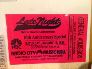 Late Night with David Letterman ticket anniversary show
