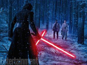 Force Awakens lightsaber duel Kylo Ren Rey Finn