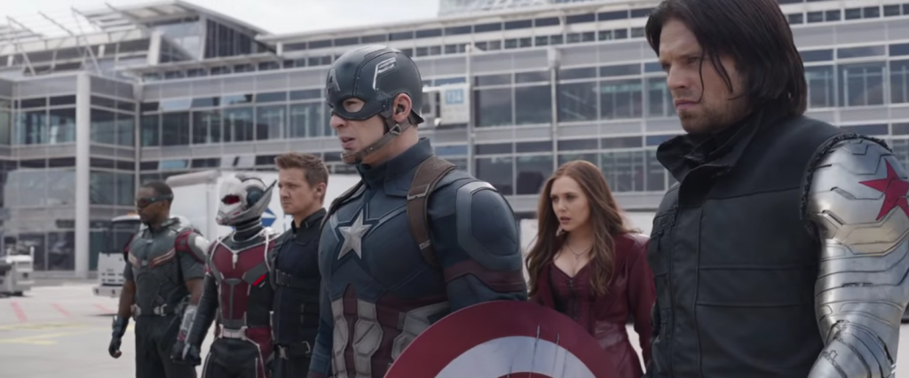 Captain America Civil War airport scene Marvel
