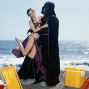 Carrie Fisher Princess Leia Darth Vader bikini beach Star Wars