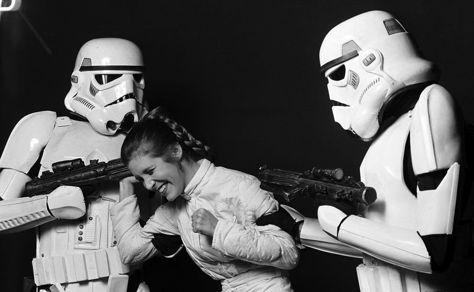 Carrie Fisher Princess Leia behind the scenes Star Wars