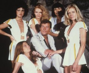 Roger Moore as James Bond Moonraker Drax Girls