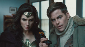 Gal Gadot as Wonder Woman Chris Pine as Steve Trevor movie
