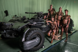 Justice League Batmobile Amazons set visit behind scenes
