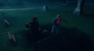Justice League Flash Cyborg digging Superman grave
