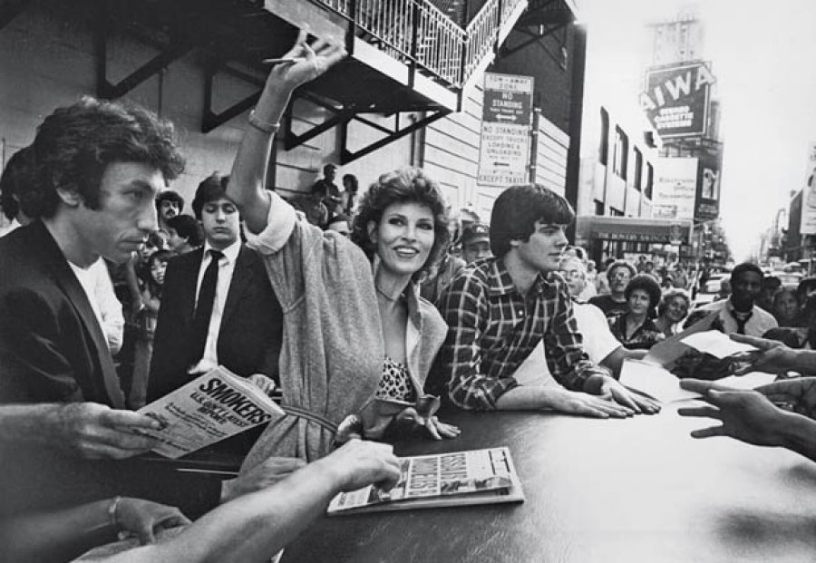 Raquel Welch signing autographs crowd Broadway New York