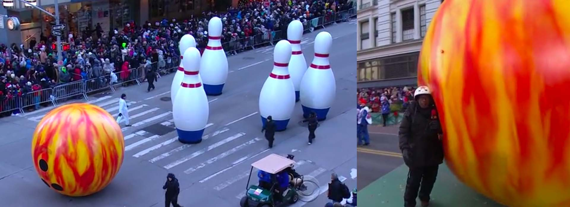 Thanksgiving Parade bowling ball pins Al Roker float 2018