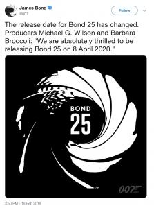 Bond 25 release date change