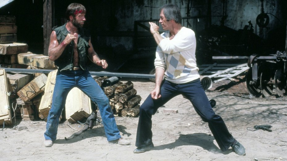 Chuck Norris David Carradine fight scene Lone Wolf McQuade 1983