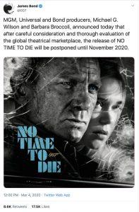 No Time To Die James Bond movie delay November 2020