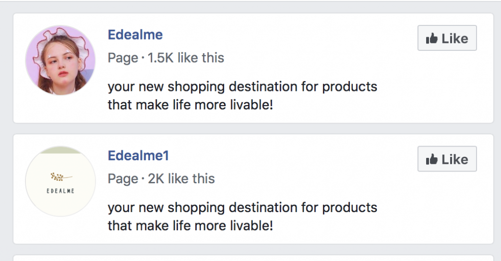Edealme scam con Facebook online store profile