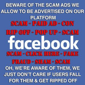 Facebook ads scam con ripoff fake shopping advertisement