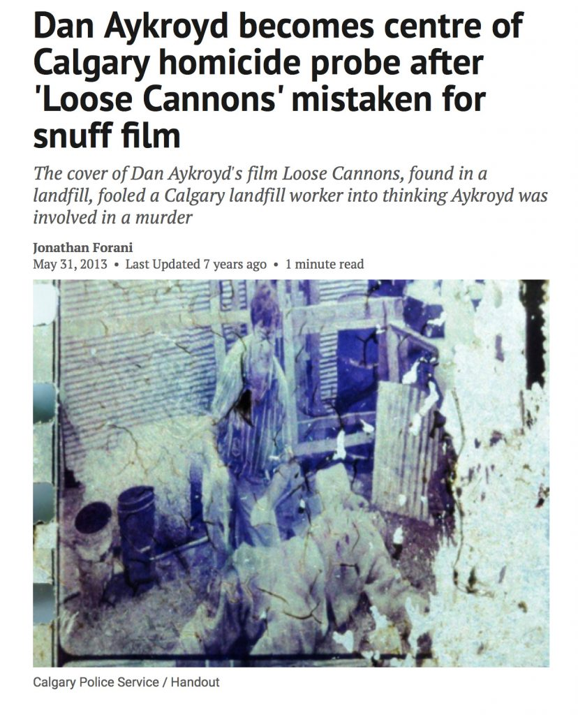 Loose Cannons 1990 movie Dan Aykroyd film news landfill murder investigation