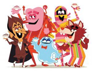 Monster Cereals Count Chocula Franken Boo Berry Yummy Mummy Fruit Brute cartoon