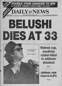 John Belushi death died newspaper headline March 1982