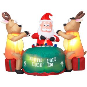 Gemmy Santa playing poker reindeer inflatable yard decoration