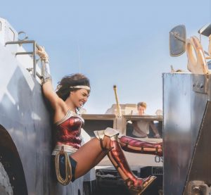 Gal Gadot action scene truck chase Wonder Woman 1984